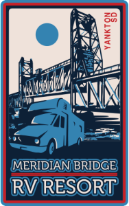 emblem, logo, sign, meridian bridge rv resort, south dakota